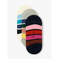 Boden Rainbow Stripe No Show Socks, Pack of 3, Multi