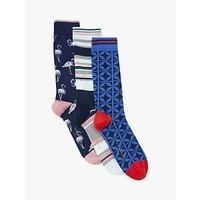 Ted Baker Studlan Flamingo Socks, Pack of 3, One Size, Multi