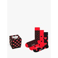Happy Socks Valentines Gift Box, One Size, Pack of 3, Red/Black