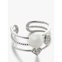 shop for Lido Pearl and Cubic Zirconia Stacked Cocktail Ring, Silver/White at Shopo