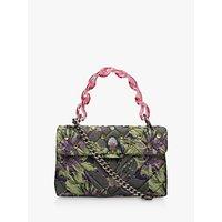 Kurt Geiger Floral Studded Kensington Shoulder Bag, Green/Purple