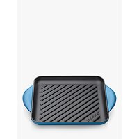 Le Creuset Cast Iron 24cm Skinny Square Grill, Marseille Blue