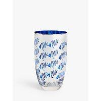 John Lewis and Partners Metallic Small Fish Highball Glass, 500ml, Blue