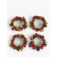 John Lewis and Partners Cranberries Napkin Rings, Set of 4, Red