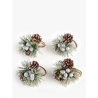 John Lewis and Partners Pinecone Napkin Rings, Set of 4, Natural/Multi