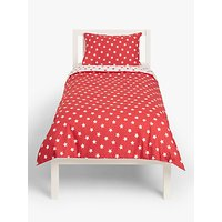 little home at John Lewis Star Reversible Duvet Cover and Pillowcase Set, Single, Red/Multi