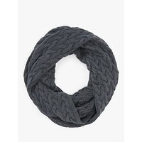 John Lewis and Partners Fine Cable Knit Snood, Dark Grey
