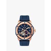 Bulova Mens Marine Star Heartbeat Automatic Silicone Strap Watch