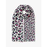 Collection WEEKEND by John Lewis Cotton Blend Animal Print Scarf, Pink Mix