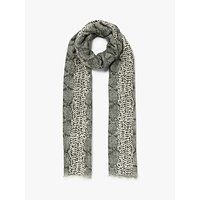 John Lewis and Partners Snake Print Scarf, Cream Mix