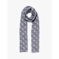 John Lewis and Partners Spiced Petals Print Scarf, Navy/White