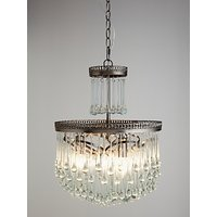 John Lewis and Partners Zinnia Crystal Chandelier Ceiling Light, Clear/Green
