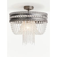 John Lewis and Partners Lucia Crystal Semi Flush Chandelier Ceiling Light, Clear