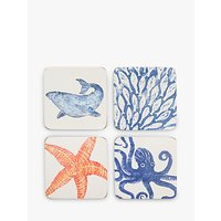 BlissHome Creatures Sealife Coasters, Set of 4, Assorted, Blue/Orange