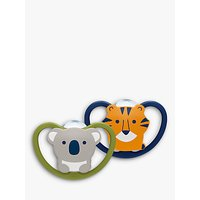 NUK Size 2 Koala and Tiger Silicone Soother, 6-18 months, Pack of 2