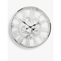 John Lewis & Partners Edgar Large Roman Numeral Skeleton Clock, 60cm, Nickel/Chrome