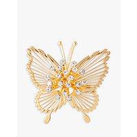 Susan Caplan Vintage Monet 22ct Gold Plated Swarovski Crystal Butterfly Brooch, Gold
