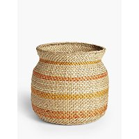 John Lewis and Partners Striped Seagrass Storage Basket
