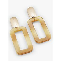 shop for John Lewis & Partners Resin Rectangle Drop Earrings, Lime/Gold at Shopo