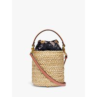 Coach Refined Leather And Straw Bucket Bag, Light Peach