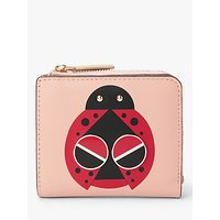 kate spade new york Spademals Lucky Ladybug Leather Small Bifold Purse, Flapper Pink