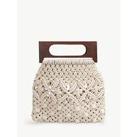 hush Naxos Crochet Handbag, Natural/Wood