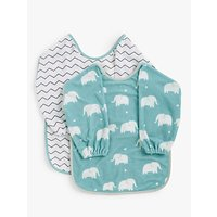 John Lewis & Partners Baby Classic Terry Bibs, Pack of 2, Elephant/Multi