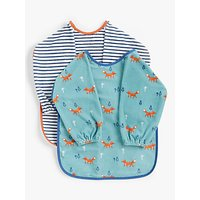 John Lewis & Partners Baby Classic Terry Bibs, Pack of 2, Fox/Multi