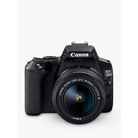 Canon EOS 250D Digital SLR Camera with 18-55mm f/3.5-5.6 III Lens, 4K Ultra HD, 24.1MP, Wi-Fi, Bluetooth, Optical Viewfinder, 3 Vari-angle Touch Screen, Black