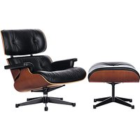 Vitra Eames Large Leather Lounge Chair and Ottoman, Black/Palisander