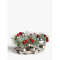 John Lewis & Partners Traditions Berry Single Candle Holder, Red