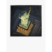Jason Hawkes - Statue Of Liberty Aerial View Framed Canvas Print, 84.5 x 84.5cm, Multi
