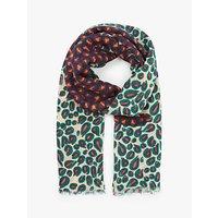 shop for Nice Things Pop Leopard Print Scarf, Ecru/Multi at Shopo