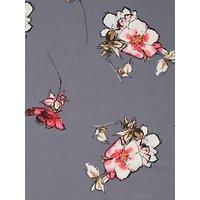 John Kaldor Large Floral Print Fabric, Mid Grey