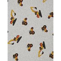 Quality Textiles Tractor Print Fleece Fabric, Grey