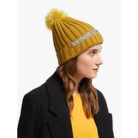 shop for Unmade Brylie Faux Fur Pom Pom Beanie Hat, Yellow at Shopo