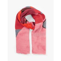 Unmade Dollie Abstract Print Square Cotton Scarf, Shocking Pink/Multi