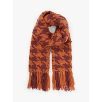shop for Unmade Candiss Houndstooth Tassel Scarf, Orange/Rust at Shopo