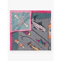 shop for BHOID The Ettrick Fish Print Square Silk Scarf, Grey/Multi at Shopo