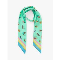 shop for BHOID The Tay Folded Novelty Print Super Skinny Silk Scarf, Mint/Multi at Shopo