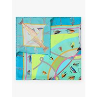 shop for BHOID The Tay Folded Fish Print Square Silk Scarf, Mint/Multi at Shopo