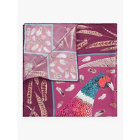 shop for BHOID The Covey Tipped Bird Print Square Silk Scarf, Plum/Multi at Shopo