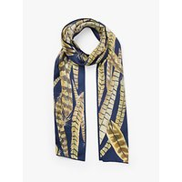 shop for BHOID The Feathers Skinny Silk Scarf, Navy/Multi at Shopo