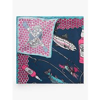 shop for BHOID The Ettrick Fish Print Square Silk Scarf, Navy/Multi at Shopo