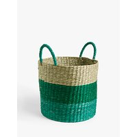 John Lewis and Partners Seagrass Basket, Medium, Green/Blue