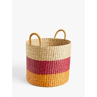 John Lewis and Partners Seagrass Basket, Large, Orange/Pink