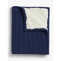 John Lewis and Partners Cable Knit Baby Blanket, Navy