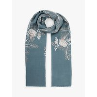 Modern Rarity Archive Flower Embroidery Wool Scarf, Blue
