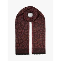 shop for John Lewis & Partners Sparkle Leopard Pattern Scarf, Wine at Shopo