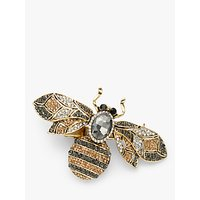 shop for One Button Crystal Bee Brooch, Gold/Multi at Shopo